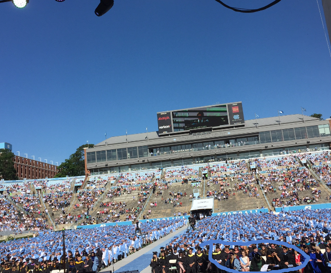 blue sky over stadium - commencement 2016-05-08