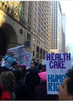 womens march health care is a human right sign