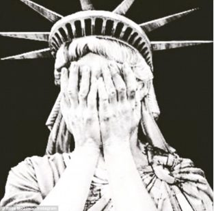 Statue of Liberty crying, hands over eyes. Image courtesy of Daily Mail.