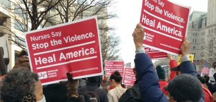 Nurses joined with Americans across the country Monday in calling for an end to hate speech and violence. Photo courtesy of National Nurses United.