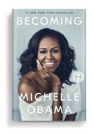 Cover of book, Becoming, with close-up photo of Michelle Obama.