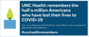 Figure of a candle with the message #unchealthremembers; join on Feb. 23 for a remembrance event and moment of silence.